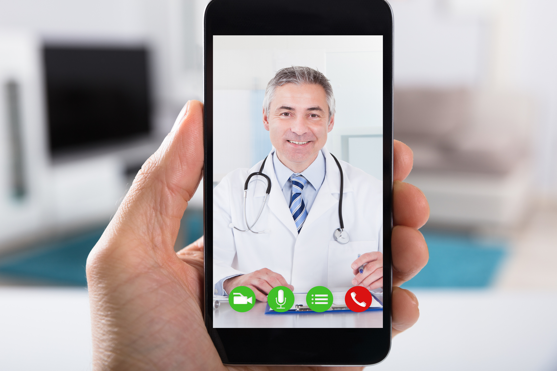 Doctor visit on mobile phone